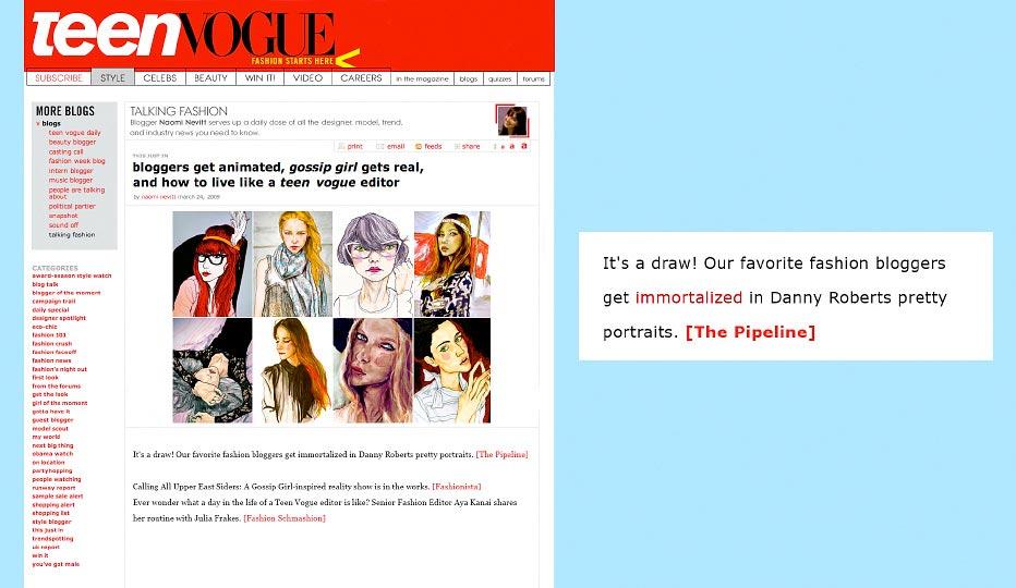 Fashion Illustrator Danny Roberts Web Feature for his blogger portait series